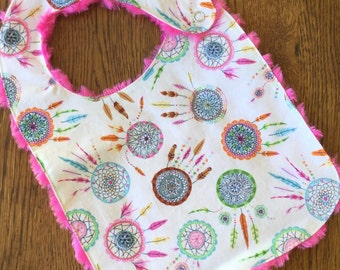 Cream and Hot Pink Dream Catcher Minky Baby/Toddler Bib