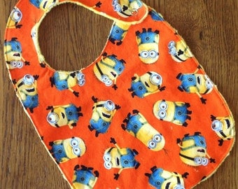 Orange Minions Minky Baby/Toddler Bib - Last One
