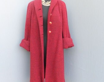 Vintage 40s/50s Coat, L C Mae California, Red Wool Full Length Coat, Glamorous Rolled or Cuffed Sleeves