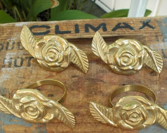 Vintage Solid Brass Rose Napkin Rings, Made in India, Very Nice, Victorian Decor / Brass Rose / Table Setting / Cottage Chic