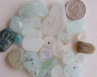 English sea glass  bonfire glass 23 amazing  pieces all sizes all colours