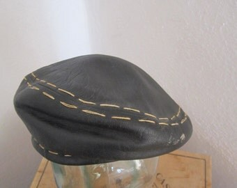 Vintage  1970's Yves Saint Laurent Black Leather Beret/ Cap- Biker Cap, 1970's, Couture Cap,
