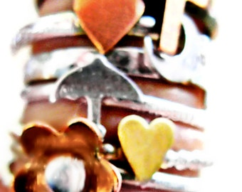 Sterling Silver Stacking Rings - Copper or Brass Heart-  Round Band or Accented Band