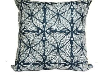 "Martyn Lawrence Bullard Kaba Kaba Indigo Bohemian Designer Accent Pillow 20"""