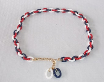 60s 70s Vintage Red White And Blue Chain Link Belt 32 to 34 Inch Waist
