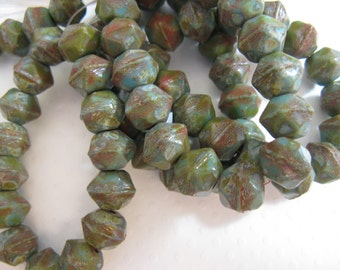 Czech Glass English Cut - 10mm Bead  Rough Cut, Modern Antique Style - Turquoise Picasso 15 beads