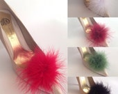 Feather Puff Pom Pom Shoe Clips  Set of Two Red Green Navy White Burgundy Grey Black
