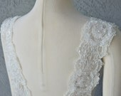 Detachable Ivory Beaded Lace Straps to Add to your Wedding Dress it Can be Customize