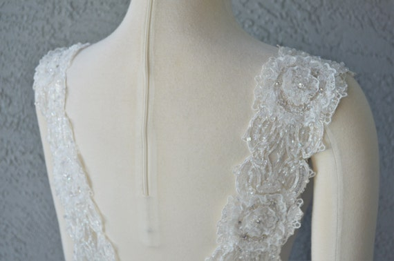 Set of two detachable ivory beaded lace straps to add to your for Adding straps to wedding dress