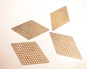 20 raw brass die cut charm in DIAMOND holes mesh 37mm each side rhombus