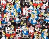 Disney Fabric  Alice in Wonderland 1 meter 100 cm by 106 cm or 39 by 42 inches 3 colors to choose