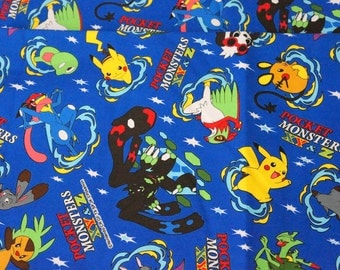 Pokemon licensed fabric pikachu 19.6 inch by 42  inch or 50 cm by 106  cm Half Meter Printed in Japan ©nintendo ©pokemon
