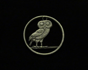 GREECE - Cut Coin Pendant w/ Athenian Owl - 1973