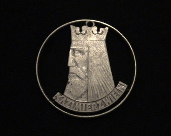 POLAND - cut coin jewelry - Casimir the Great - 1964