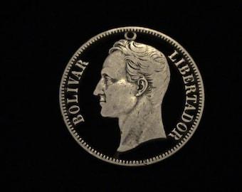 Venezuela - cut coin pendant - Simon Bolivar - 1936 - SILVER