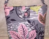 Vintage Mid Century Barkcloth Fabric  Purse Handbag Gray Pink Navy Abstract Modern Large Ginas Creations Original