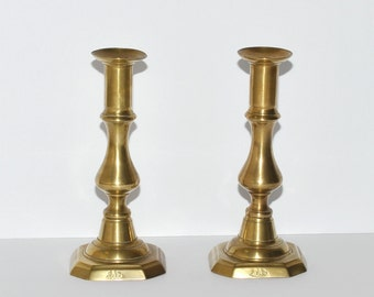 Antique J. Barlow Brass Candlestick Holders, Pair