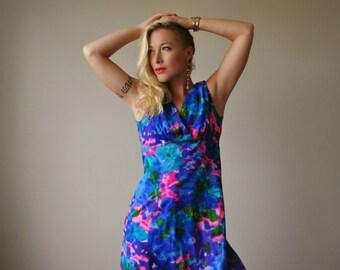 1960s Vibrant Evening McInerny Dress~Size Medium