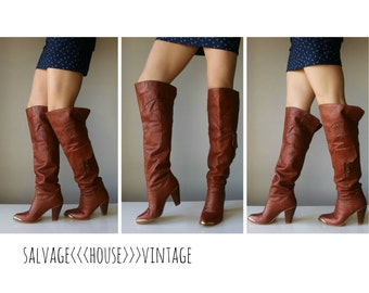 1970s Cognac Over the Knee Boots~Size 5-1/2 (5.5)