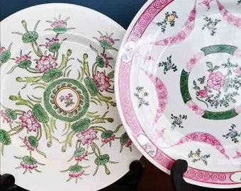 Sale - Vintage decorative floral pink and green plates