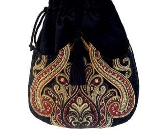 Tapestry Chenille Bag Black Velvet Bag  Boho Bag  Black Bag With Tassel  Renaissance Bag