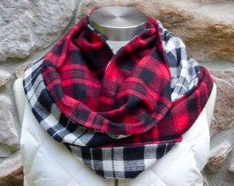NEW Black and Cream Check Plaid & Black and Red Check Plaid Flannel Adult Twisted Infinity Scarf