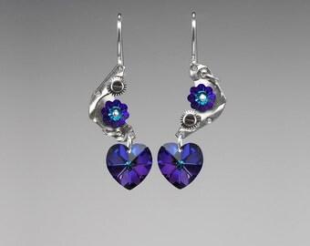 Steampunk Earrings, Heliotrope Swarovski Crystals, Asymmetrical Jewelry, Iridescent Crystals, Watch Parts, Machine II v16