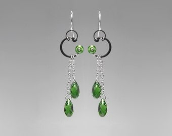 Green Swarovski Crystal Earrings, Fern Green Crystals, Industrial Jewelry, Wedding Jewelry, Statement Jewelry, Gift For Her, Hyperion II v10