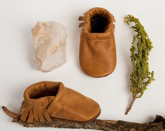 Tribe Brown Fringe Soft Soled Leather Moccasins Shoes Baby and Toddler