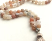 matte druzy agate 108 bead traditional mala with silk tassel