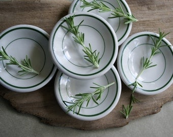 Vintage Restaurant Ware Butter Pats in the Classic White with Green Bands Diner Table Decor Individual Serving Dishes