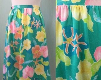 Vintage Beach Wrap. 80's Hawaiian Skirt, swimsuit wrap skirt. Floral skirt