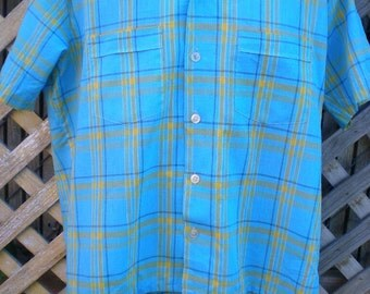 Vintage Blue Plaid 60's, button Down Shirt, plaid greaser, rockabilly shirt