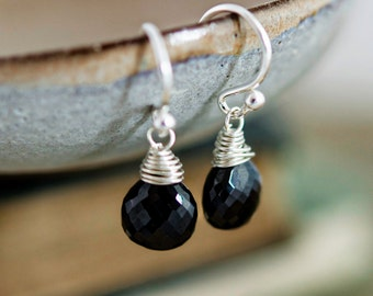 Onyx Earrings, Drop Earrings, Gemstone Earrings, Black Stone, Wire Wrapped, Dangle Earrings, Black Earrings, Gemstone Jewelry, PoleStar