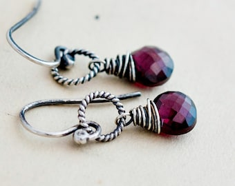 Rubelite Garnet, Garnet Earrings, Drop Earrings, January Birthstone, Wire Wrapped, Sterling Silver, Birthstone Earrings,
