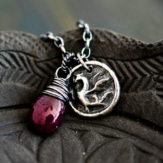 Dragon Necklace, Dragon Pendant, Ruby, Red, Dragon, July Birthstone, Dragon Charm, Year of the Dragon, Sterling Silver, PoleStar