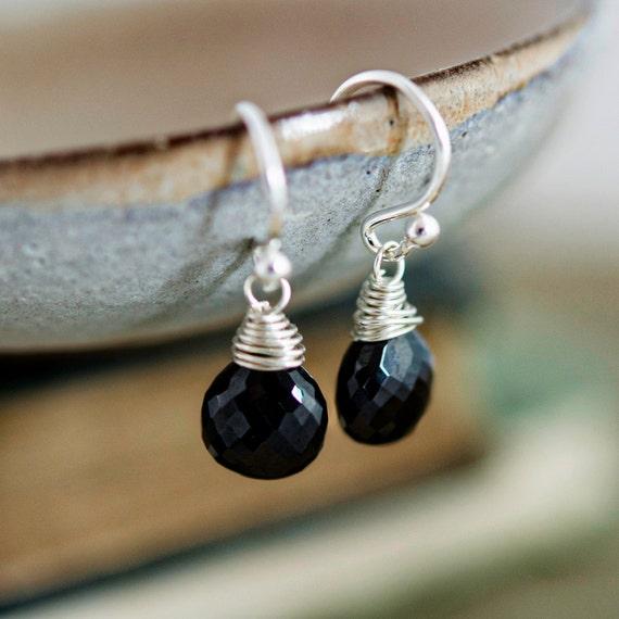 Black Stone Earrings: Onyx Earrings Drop Earrings Gemstone Earrings Black Stone