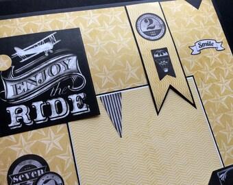 Premade Single Scrapbook Page, Chalkboard Style Scrapbook Page, Enjoy The Ride Scrapbook Layout, Premade Chalkboard Scrapbook Layout Page