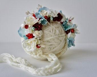 Flower Bonnet, Garden Bonnet, Floral Bonnet, Baby hat, Newborn Hat, Baby Photo Prop, Christmas Photo Prop, Knit Baby Bonnet, Sitter Bonnet