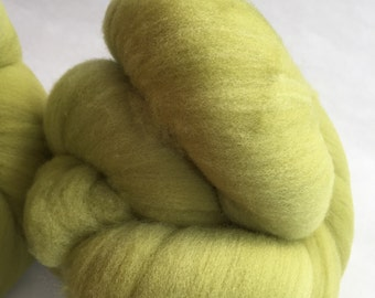 2 batts 100 percent fine Corriedale 3.89oz bright green perfect for spinningor felting.