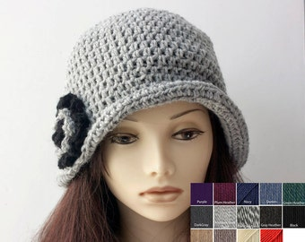 Wool Cloche Hat, Custom Choose Color, Hand Crochet Hat,  Flower Winter Hat, 1920's Flapper Hat, Flapper Cloche
