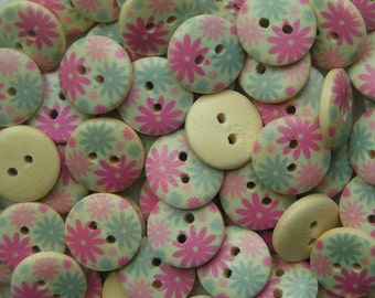 Wooden buttons aqua and pink flower design buttons 15mm pack of 5 wood round button