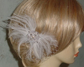 Closeout - Ivory Feather Fascinator with Rhinestone Sparkle