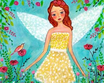 Children Art Print - Nursery Wall Art Fairy Painting - Angel Painting Art Print - Fairy Illustration - Wooden Art Block