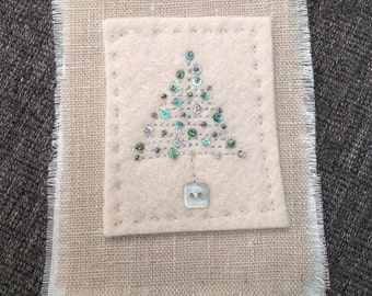 Hand Stitched Wool Felt and Linen Christmas Tree Hanger Decoration