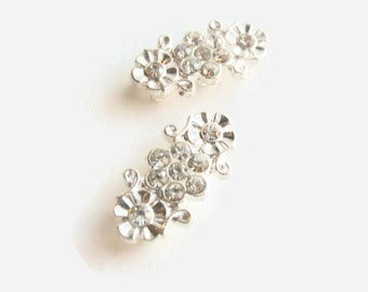 4 (3 strands) Spacer Connector Beads, Jewelry Making Supply, Rhinestone s, Silver color Alloy