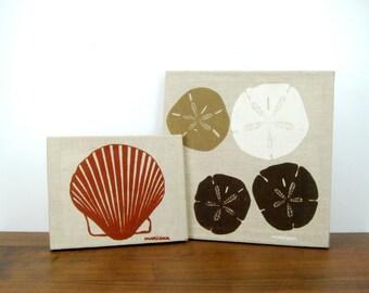 Marushka Seashells Canvas Screenprint Set of 2 Wall Hangings, Scallop Shell & Sand Dollars, Vintage Beach House Decor