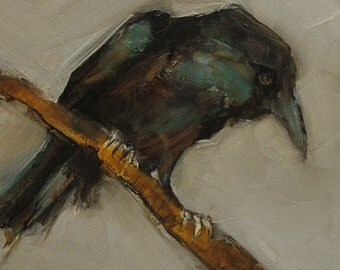 CROW RAVEN Black BIRD Colette W. Davis Art Giclee print