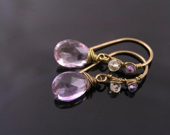 Large Champagne Ametrine Wire Wrapped Single Drop Earrings, Ametrine Earrings, Purple Earrings