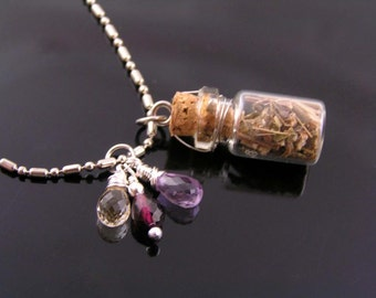 Glass Bottle Necklace with Vervain and Gemstones, Supernatural Necklace, Protection Necklace, Supernatural Jewelry, Vampire Diaries Jewelry